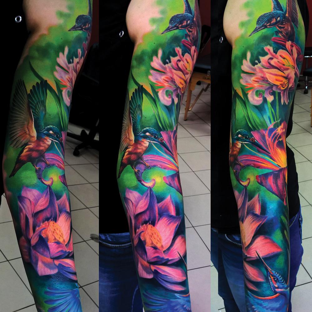 Caffeine Tattoo Kolorowy Rękaw Tatuaż Caffeine Studio Warszawa
